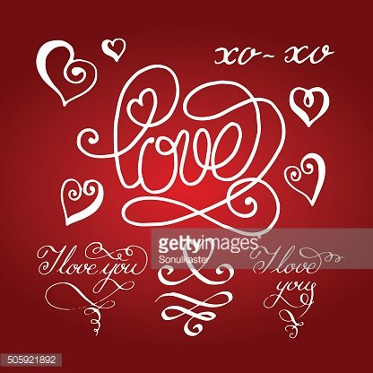 Valentines day calligraphy and lettering collection