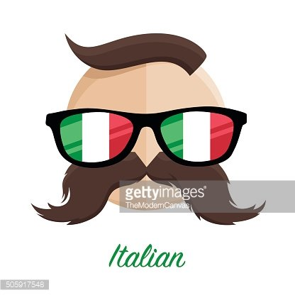 Italian hipster style man with flag glasses and moustache