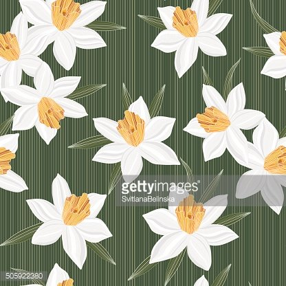 Seamless vector jonquil flower pattern background