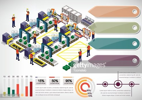 illustration of info graphic factory equipment concept