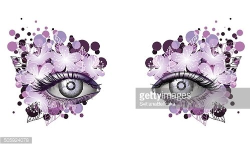 Look of the spring, photorealistic eye artistic makeup