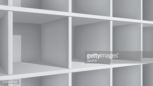 Empty white shelves, perspective view