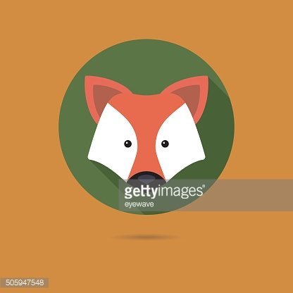 red fox face flat design icon