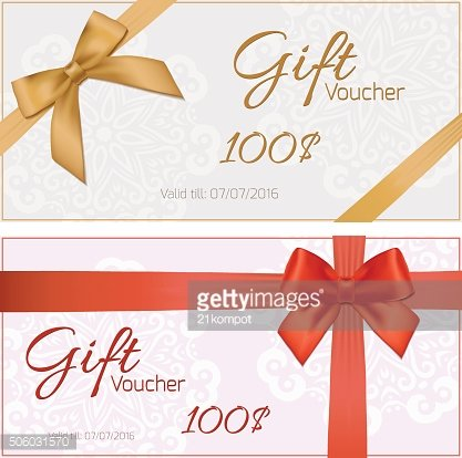 Voucher template with floral pattern, border, red and gold bow