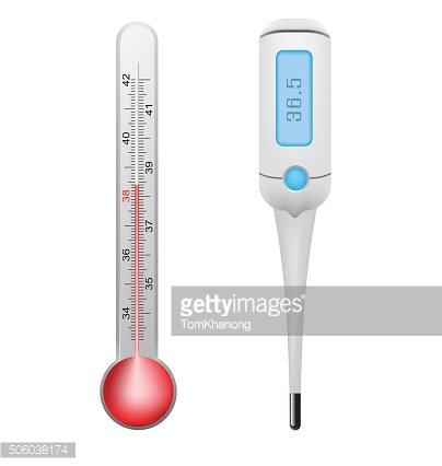 Thermometer and electronic thermometer set vector design