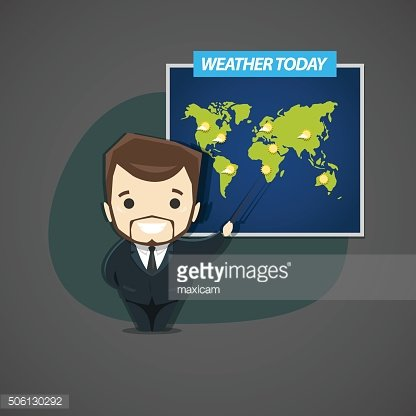 Television announcer talks about the weather standing next to th