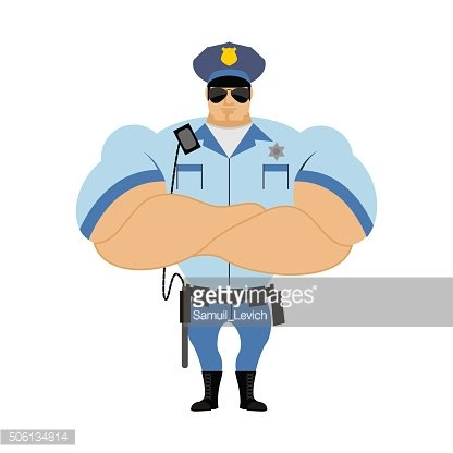 Police officer. Man in form of policing. Police man