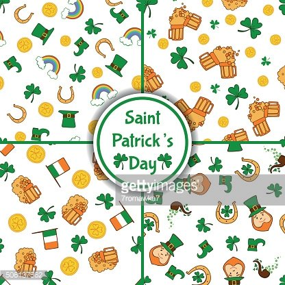 Set of four Saint Patrick's Day seamless patterns
