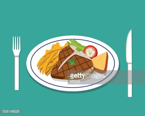 T-bone steak and french fries on dish