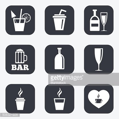 Beer, coffee and tea icons. Alcohol drinks.