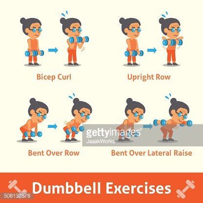 Cartoon Set of Old Woman Doing Dumbbell Exercise Step