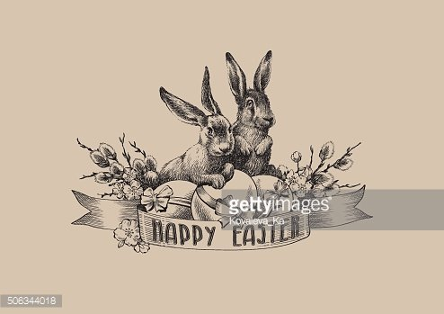 Vintage easter bunnies willow eggs illustration composition