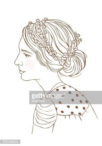 Young woman wearing crown of flowers.Vector fashion Illustration.