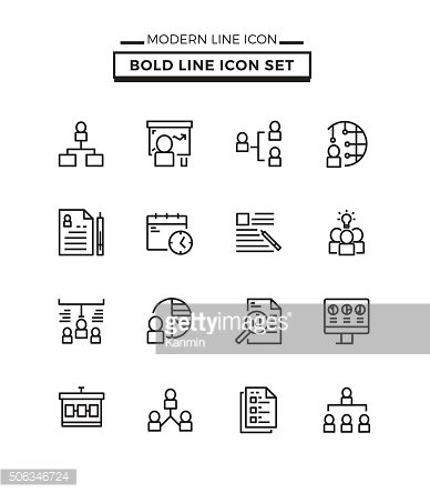 Bold lines icons set of Management