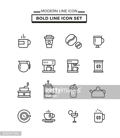 Bold lines icons set of Coffee