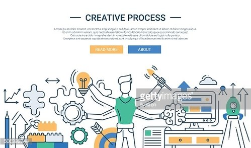 Creative process line design banner with many handed man