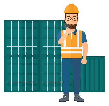 Stevedore standing on cargo containers background