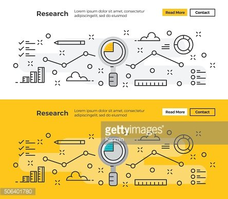 Set of Modern line design concept of Research