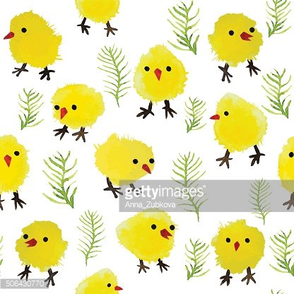 Seamless background with watercolor chickens and grass