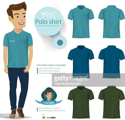 Set of templates colored polo shirts for men.vector