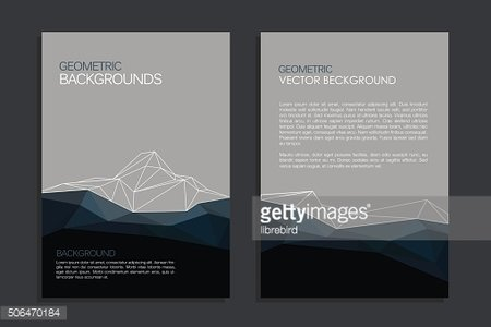 Vector brochure template design with mountain and triangles elem