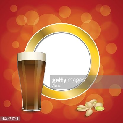 Background red gold drink glass dark beer pistachios circle frame