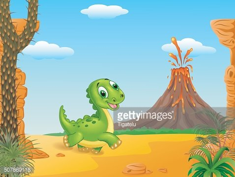Cute baby dinosaur walking with Prehistoric background