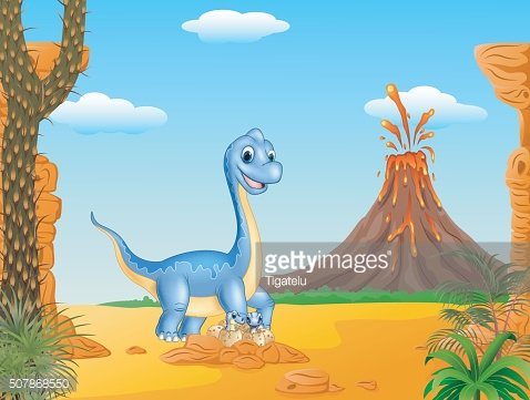 Cartoon funny Mother and baby dinosaur hatching with prehistoric background