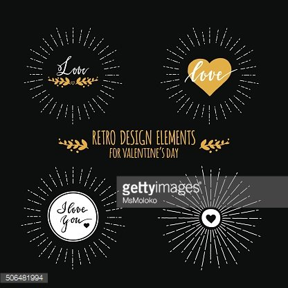 Seet of retro design elements with sunbursts and hearts for
