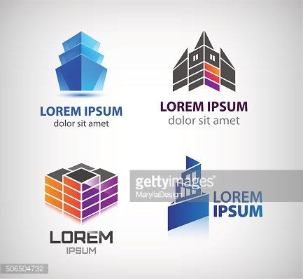Vector set of building, houses, city, town logos, icons isolated