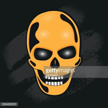 The skull against the wall. stylized vector illustration