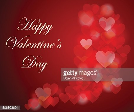 Happy Valentine's day card with bokeh hearts background