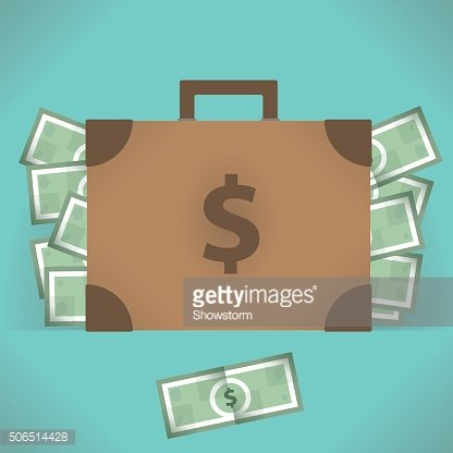Suitcase with money - vector illustration