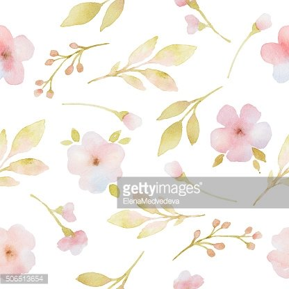 Pink flowers branches and leaves watercolor seamless pattern.