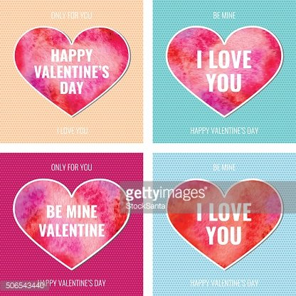 Vector Vintage Watercolor Beautiful Happy Valentine's Day cards set isolated