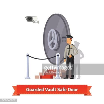 Vault safe door guarded by an officer in uniform
