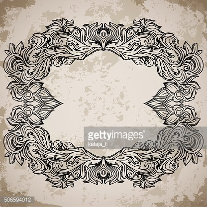 Antique border frame engraving with retro ornament pattern.
