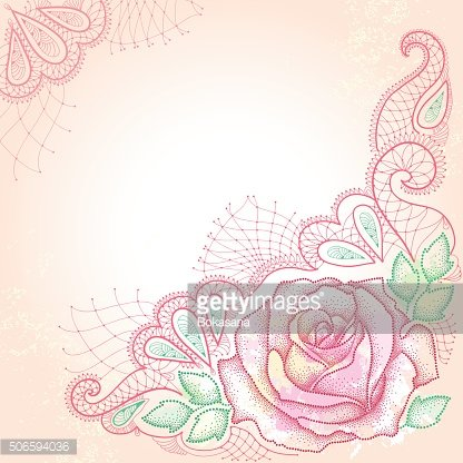 Background with pink dotted rose with leaves and decorative lace