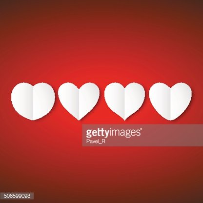 White paper hearts, Valentines day card on red background, vector