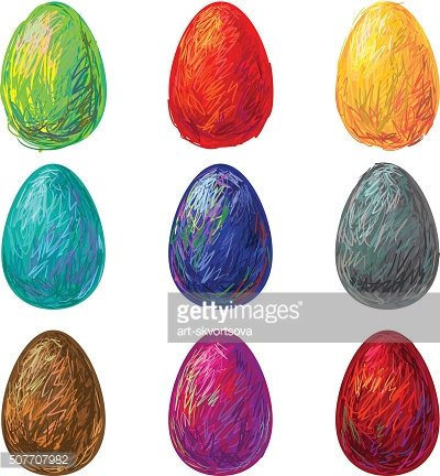 Hand-drawn Easter eggs