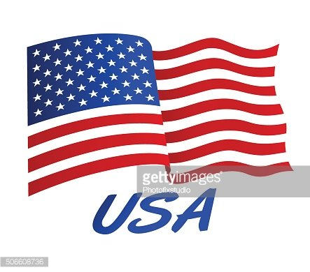 American flag in wind with USA