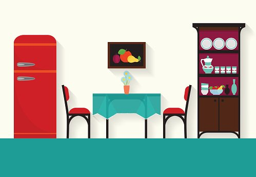 Home Interior Design For Kitchen And Sitting Rooms Clipart