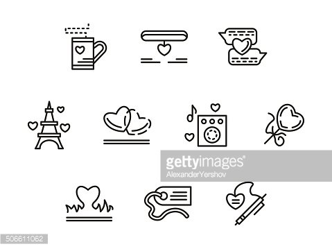 Simple line love relationship vector icons