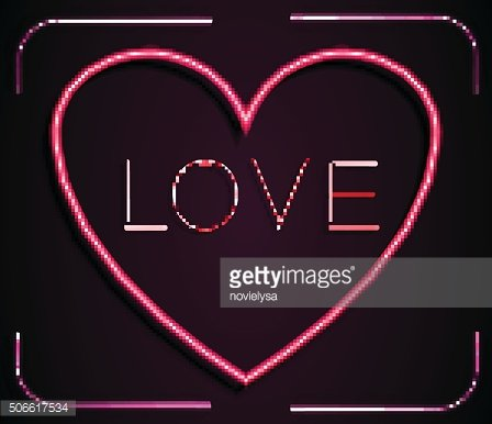 Neon red heart with inscription LOVE on a pink background