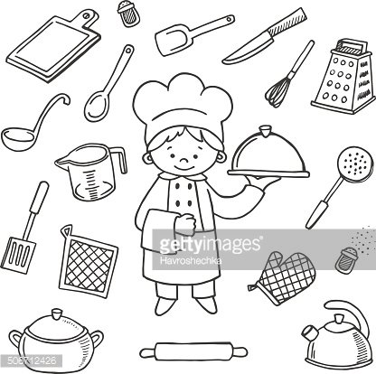 Kitchener tools white and black vector icons set. Profession bac