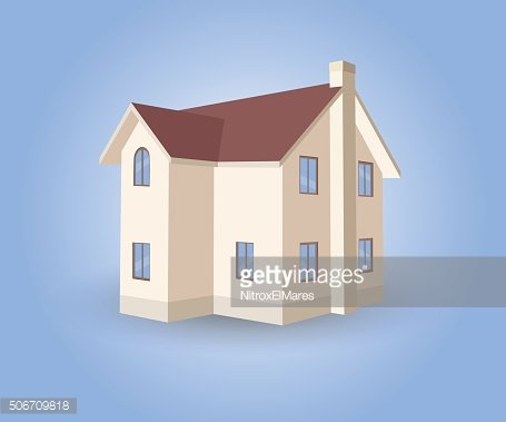 Vector House on blue background