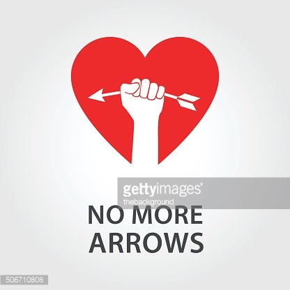 Happy Valentines Day Card With Heart and Arrow.