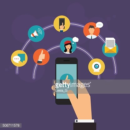 Social Network Vector Concept.Hand holding a smartphone. Communi