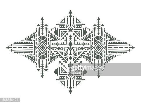 Tribal art boho hand drawn geometric pattern.