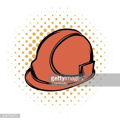 Orange safety helmet comics icon